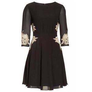 TED BAKER Gaenor Embroidered Gold Black Dress Sz 0